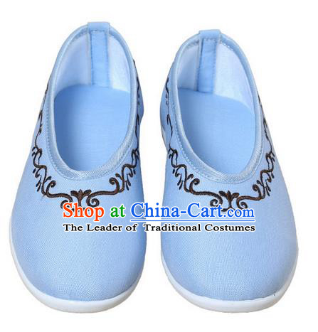 Top Chinese Traditional Tai Chi Embroidered Linen Shoes Kung Fu Pulian Shoes Martial Arts Blue Shoes for Women