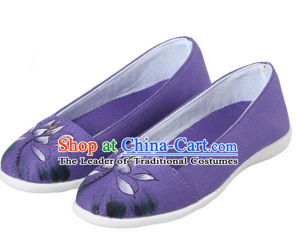 Top Chinese Traditional Tai Chi Hand Painting Lotus Linen Shoes Kung Fu Pulian Shoes Martial Arts Purple Shoes for Women
