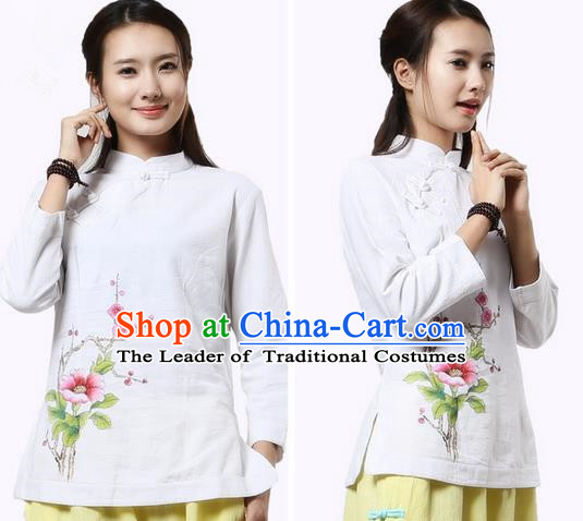 Top Chinese Traditional Costume Tang Suit White Blouse, Pulian Clothing China Cheongsam Upper Outer Garment Painting Trumpet Flower Plated Buttons Shirts for Women