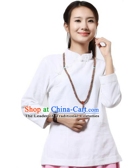 Top Chinese Traditional Costume Tang Suit White Blouse, Pulian Clothing China Cheongsam Upper Outer Garment Plated Buttons Shirts for Women