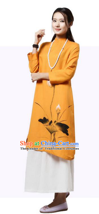 Top Chinese Traditional Costume Tang Suit Yellow Painting Lotus Qipao Dress, Pulian Clothing China Cheongsam Upper Outer Garment Stand Collar Dress for Women