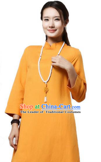 Top Chinese Traditional Costume Tang Suit Yellow Qipao Dress, Pulian Clothing China Cheongsam Upper Outer Garment Stand Collar Dress for Women