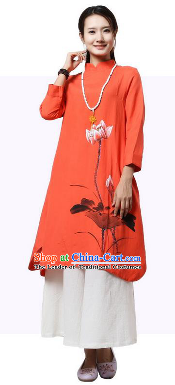 Top Chinese Traditional Costume Tang Suit Orange Painting Lotus Qipao Dress, Pulian Clothing China Cheongsam Upper Outer Garment Stand Collar Dress for Women