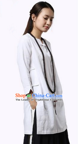 Top Chinese Traditional Costume Tang Suit White Qipao Dress, Pulian Zen Clothing China Cheongsam Upper Outer Garment Dress for Women