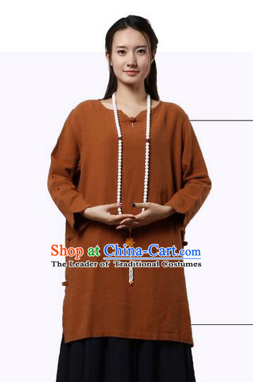 Top Chinese Traditional Costume Tang Suit Coffee Linen Qipao Dress, Pulian Zen Clothing China Cheongsam Upper Outer Garment Dress for Women
