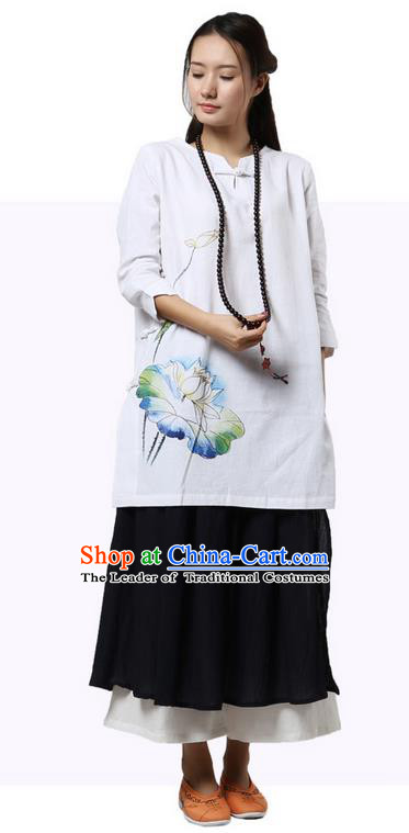 Top Chinese Traditional Costume Tang Suit White Linen Painting Lotus Qipao Dress, Pulian Zen Clothing China Cheongsam Upper Outer Garment Dress for Women
