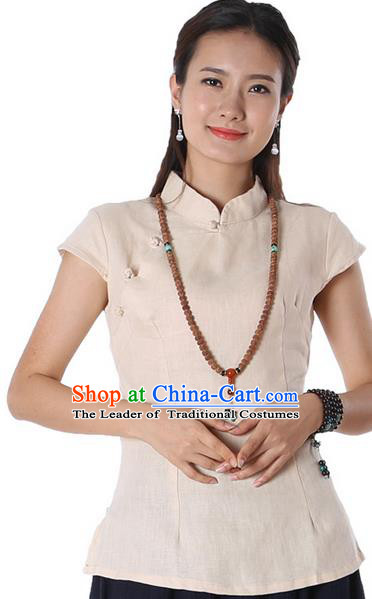 Top Chinese Traditional Costume Tang Suit Beige Blouse, Pulian Zen Clothing China Cheongsam Upper Outer Garment Stand Collar Shirts for Women