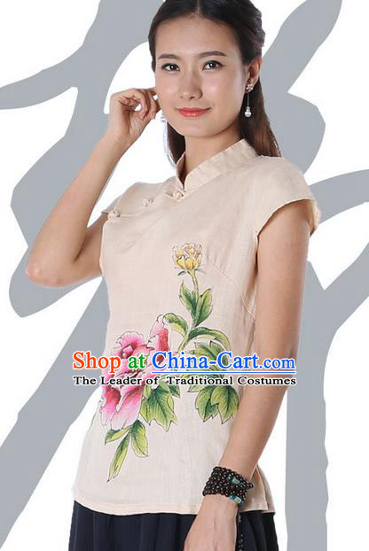 Top Chinese Traditional Costume Tang Suit Beige Painting Peony Flowers Blouse, Pulian Zen Clothing China Cheongsam Upper Outer Garment Stand Collar Shirts for Women