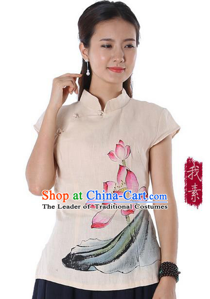 Top Chinese Traditional Costume Tang Suit Beige Painting Lotus Flowers Blouse, Pulian Zen Clothing China Cheongsam Upper Outer Garment Stand Collar Shirts for Women