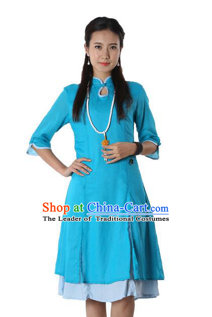 Top Chinese Traditional Costume Tang Suit Linen Blue Qipao Dress, Pulian Clothing China Cheongsam Upper Outer Garment Dress for Women
