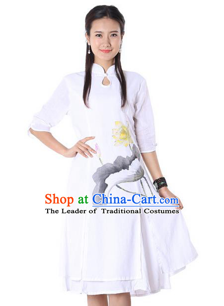 Top Chinese Traditional Costume Tang Suit Linen White Painting Lotus Qipao Dress, Pulian Clothing China Cheongsam Upper Outer Garment Dress for Women