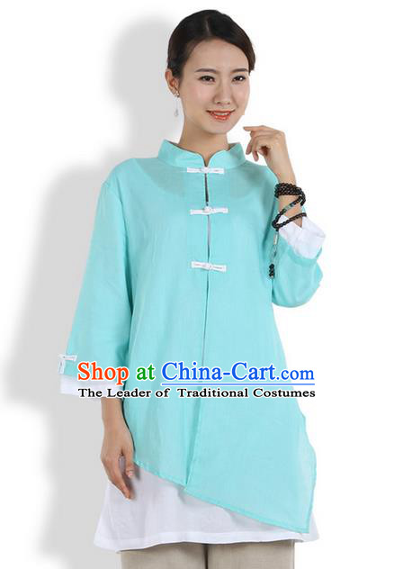 Top Chinese Traditional Costume Tang Suit Double-deck Linen Blouse, Pulian Clothing China Cheongsam Upper Outer Garment Blue Plated Buttons Shirt for Women
