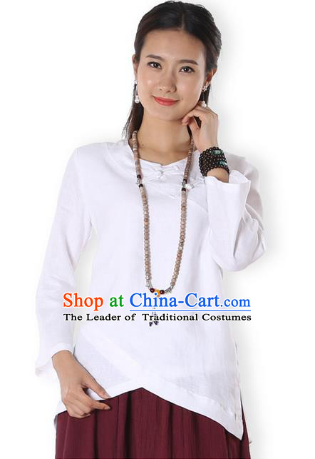 Top Chinese Traditional Costume Tang Suit White Blouse, Pulian Zen Clothing China Cheongsam Upper Outer Garment Plated Buttons Shirts for Women