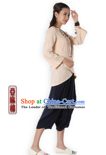 Top Chinese Traditional Costume Tang Suit Beige Blouse, Pulian Zen Clothing China Cheongsam Upper Outer Garment Plated Buttons Shirts for Women