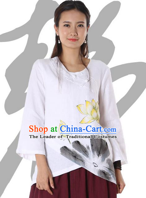 Top Chinese Traditional Costume Tang Suit White Painting Lotus Blouse, Pulian Zen Clothing China Cheongsam Upper Outer Garment Plated Buttons Shirts for Women