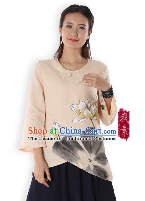 Top Chinese Traditional Costume Tang Suit Beige Painting Lotus Blouse, Pulian Zen Clothing China Cheongsam Upper Outer Garment Plated Buttons Shirts for Women