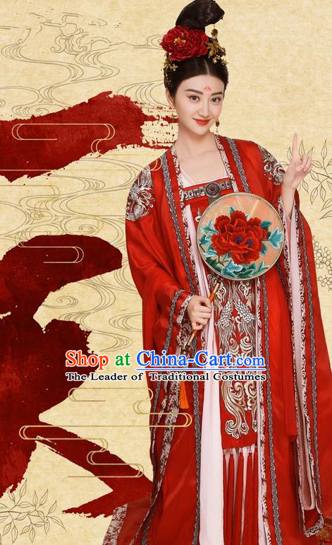 Traditional Chinese Ancient Imperial Empress Costume and Headpiece Complete Set, Chinese Television The Glory of Tang Dynasty Palace Queen Embroidered Hanfu Clothing for Women