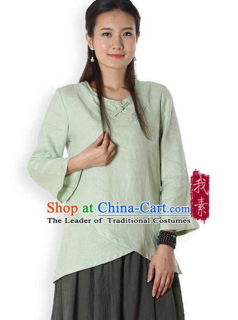 Top Chinese Traditional Costume Tang Suit Green Blouse, Pulian Zen Clothing China Cheongsam Upper Outer Garment Plated Buttons Shirts for Women