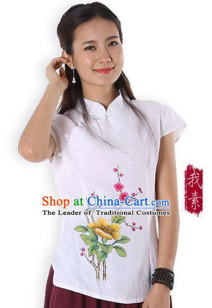 Top Chinese Traditional Costume Tang Suit White Linen Painting Trumpet Flower Blouse, Pulian Zen Clothing China Cheongsam Upper Outer Garment Stand Collar Shirts for Women