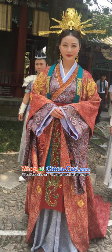 Traditional Chinese Ancient Imperial Consort Costume and Headpiece Complete Set, Xuan-Yuan Sword Legend: The Clouds of Han the Three Kingdoms Imperial Empress Hanfu Clothing for Women