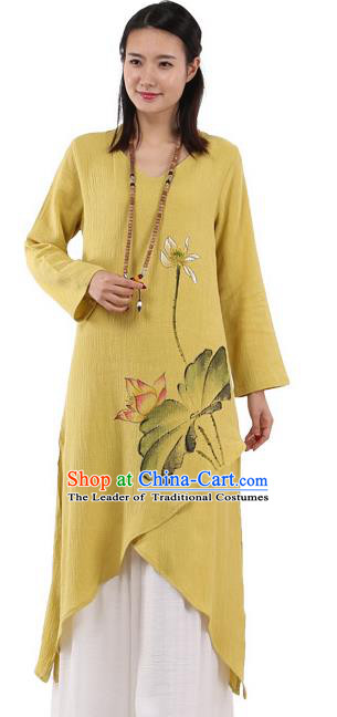 Top Chinese Traditional Costume Tang Suit Yellow Linen Painting Lotus Qipao Dress, Pulian Meditation Clothing China Cheongsam Upper Outer Garment Dress for Women
