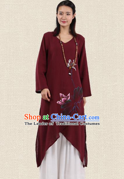 Top Chinese Traditional Costume Tang Suit Wine Red Linen Painting Lotus Qipao Dress, Pulian Meditation Clothing China Cheongsam Upper Outer Garment Dress for Women