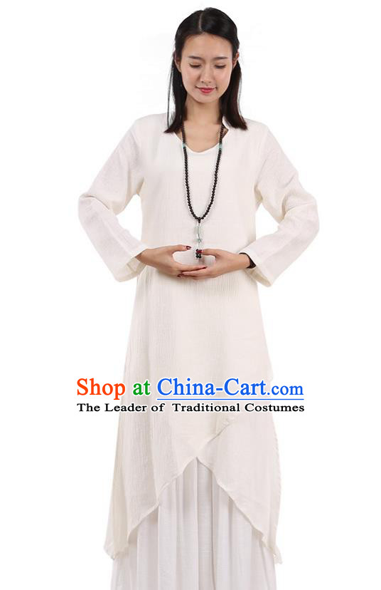 Top Chinese Traditional Costume Tang Suit White Qipao Dress, Pulian Meditation Clothing China Cheongsam Upper Outer Garment Dress for Women