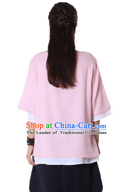 Top Chinese Traditional Costume Tang Suit Double-deck Pink Blouse, Pulian Zen Clothing China Cheongsam Upper Outer Garment Plated Buttons Shirts for Women