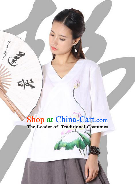 Top Chinese Traditional Costume Tang Suit White Painting Pink Lotus Blouse, Pulian Zen Clothing China Cheongsam Upper Outer Garment Slant Opening Shirts for Women