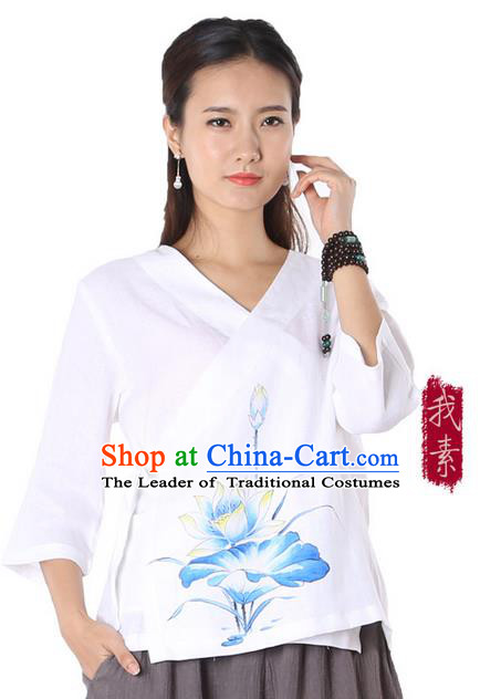 Top Chinese Traditional Costume Tang Suit White Painting Blue Lotus Blouse, Pulian Zen Clothing China Cheongsam Upper Outer Garment Slant Opening Shirts for Women