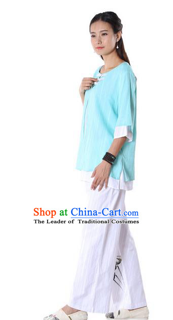 Top Chinese Traditional Costume Tang Suit Double-deck Blue Blouse, Pulian Zen Clothing China Cheongsam Upper Outer Garment Plated Buttons Shirts for Women