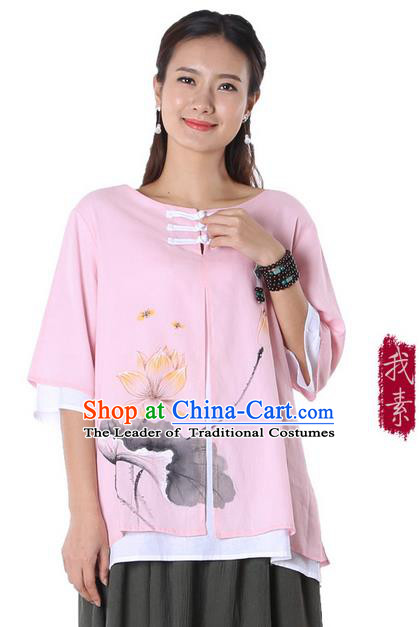 Top Chinese Traditional Costume Tang Suit Double-deck Pink Ink Painting Lotus Blouse, Pulian Zen Clothing China Cheongsam Upper Outer Garment Plated Buttons Shirts for Women