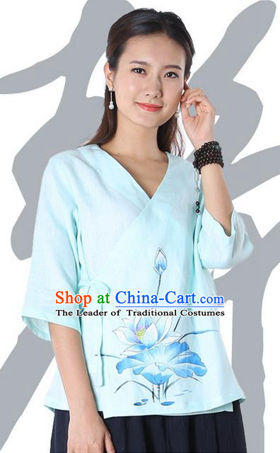 Top Chinese Traditional Costume Tang Suit Blue Painting Blue Lotus Blouse, Pulian Zen Clothing China Cheongsam Upper Outer Garment Slant Opening Shirts for Women