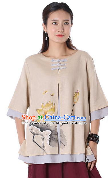 Top Chinese Traditional Costume Tang Suit Double-deck Khaki Ink Painting Lotus Blouse, Pulian Zen Clothing China Cheongsam Upper Outer Garment Plated Buttons Shirts for Women