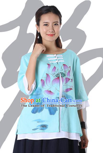 Top Chinese Traditional Costume Tang Suit Double-deck Blue Painting Lotus Blouse, Pulian Zen Clothing China Cheongsam Upper Outer Garment Plated Buttons Shirts for Women