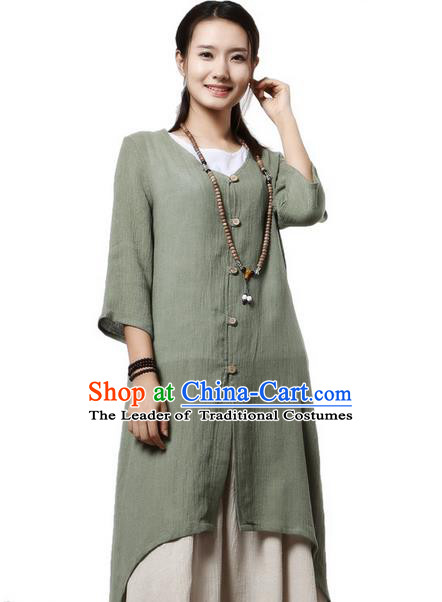 Top Chinese Traditional Costume Tang Suit Green Linen Qipao Coats, Pulian Clothing Republic of China Upper Outer Garment Dust Coats for Women