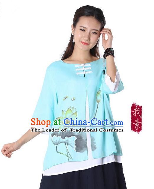 Top Chinese Traditional Costume Tang Suit Double-deck Blue Ink Painting Lotus Blouse, Pulian Zen Clothing China Cheongsam Upper Outer Garment Plated Buttons Shirts for Women