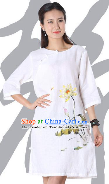 Top Chinese Traditional Costume Tang Suit White Linen Qipao Painting Lotus Yoga Dress, Pulian Clothing Republic of China Cheongsam Upper Outer Garment Dress for Women