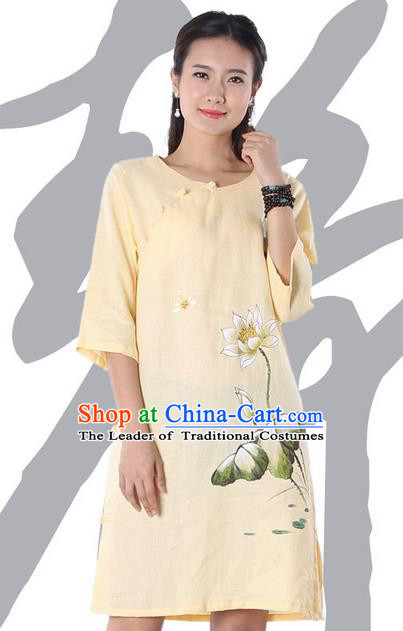 Top Chinese Traditional Costume Tang Suit Yellow Linen Qipao Painting Lotus Yoga Dress, Pulian Clothing Republic of China Cheongsam Upper Outer Garment Dress for Women