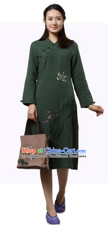 Top Chinese Traditional Costume Tang Suit Slant Opening Plated Buttons Qipao Dress, Pulian Clothing Republic of China Cheongsam Painting Lotus Green Dress for Women