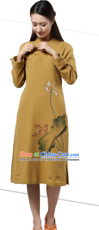 Top Chinese Traditional Costume Tang Suit Slant Opening Plated Buttons Qipao Dress, Pulian Clothing Republic of China Cheongsam Painting Lotus Khaki Dress for Women