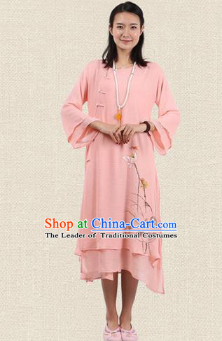 Top Chinese Traditional Costume Tang Suit Pink Plated Buttons Qipao Dress, Pulian Clothing Republic of China Cheongsam Hand Painting Lotus Dress for Women