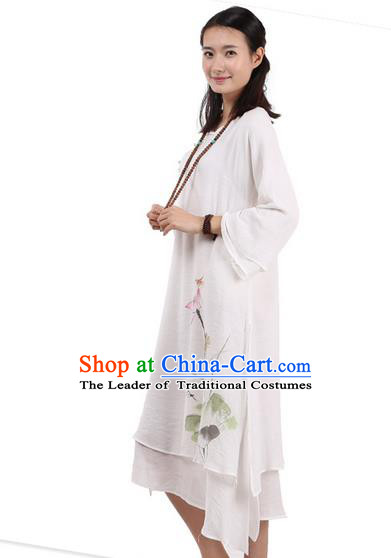 Top Chinese Traditional Costume Tang Suit White Plated Buttons Qipao Dress, Pulian Clothing Republic of China Cheongsam Hand Painting Lotus Dress for Women
