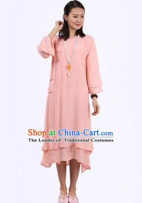 Top Chinese Traditional Costume Tang Suit Pink Plated Buttons Qipao Dress, Pulian Clothing Republic of China Cheongsam Dress for Women