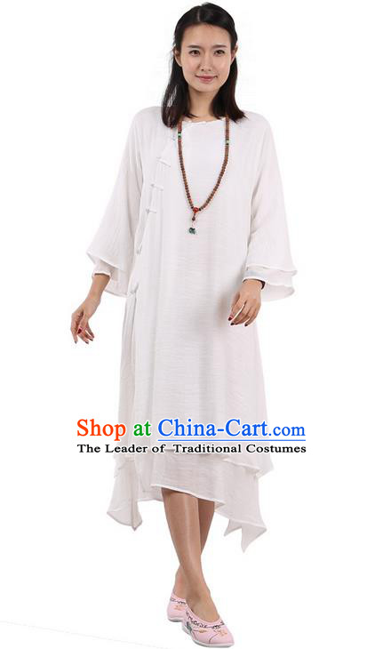 Top Chinese Traditional Costume Tang Suit White Plated Buttons Qipao Dress, Pulian Clothing Republic of China Cheongsam Dress for Women