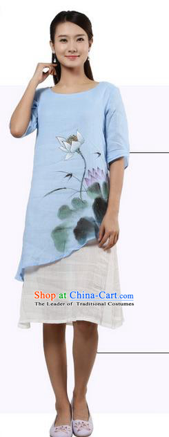 Top Chinese Traditional Costume Tang Suit Painting Lotus Blue Blouse, Pulian Zen Clothing China Cheongsam Dress Upper Outer Garment Shirts for Women