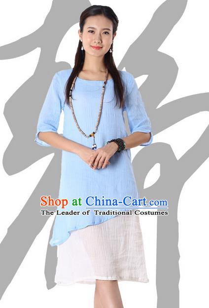 Top Chinese Traditional Costume Tang Suit Blue Blouse, Pulian Zen Clothing China Cheongsam Dress Upper Outer Garment Shirts for Women