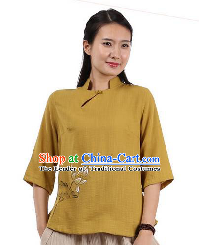 Top Chinese Traditional Costume Tang Suit Yellow Painting Lotus Blouse, Pulian Zen Clothing China Cheongsam Upper Outer Garment Shirts for Women