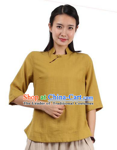 Top Chinese Traditional Costume Tang Suit Yellow Blouse, Pulian Zen Clothing China Cheongsam Upper Outer Garment Shirts for Women