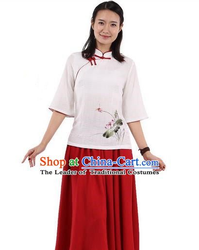 Top Chinese Traditional Costume Tang Suit White Red Edge Painting Lotus Blouse, Pulian Zen Clothing China Cheongsam Upper Outer Garment Slant Opening Shirts for Women